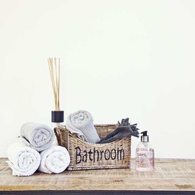 Rieten opbergmand 'Bathroom' klein