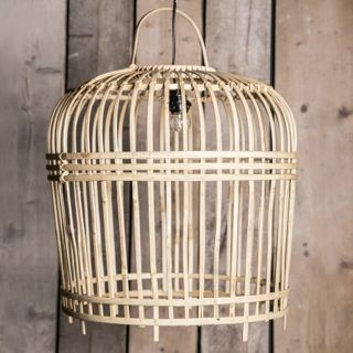 Rieten hippe hanglamp 'bamboe' groot