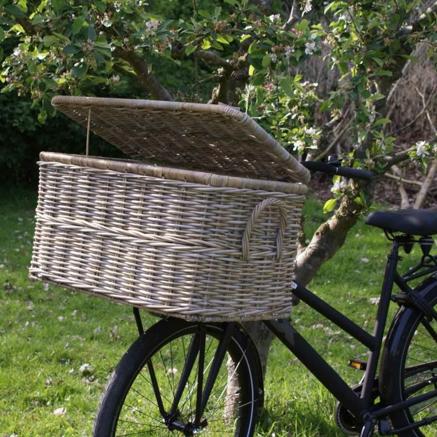 Hippe rotan fietsmand met deksel (groot)