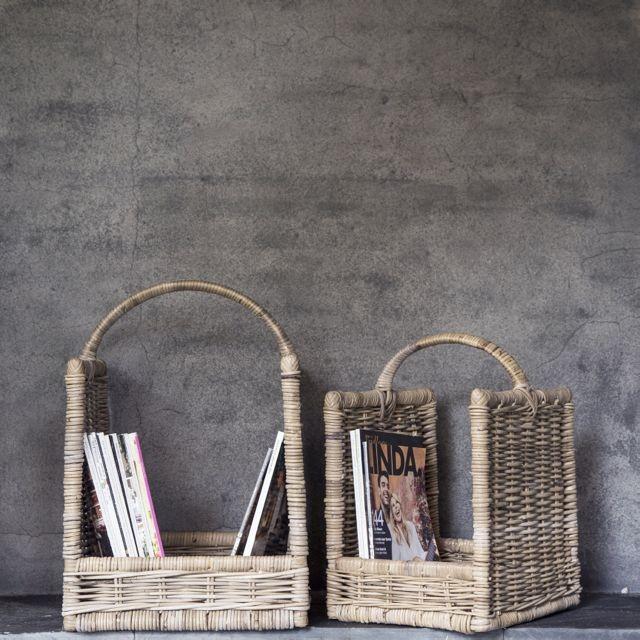 Rotan hout-lectuurmand 2-delige set