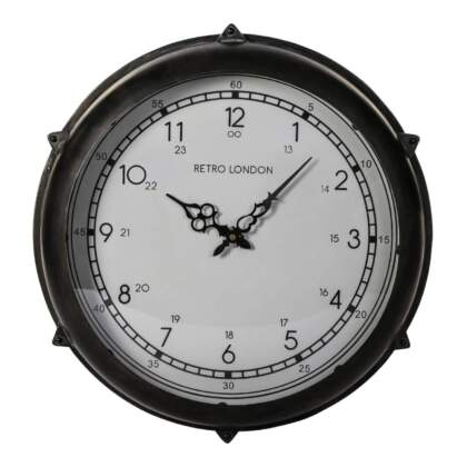 brice black metal round clock