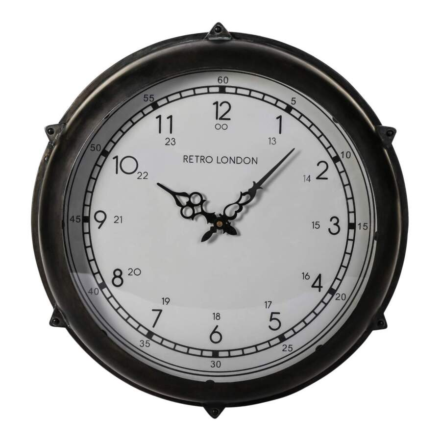 brice black metal round clock